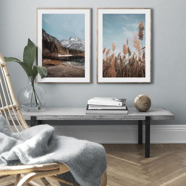 Пара постеров Горное озеро и колосья