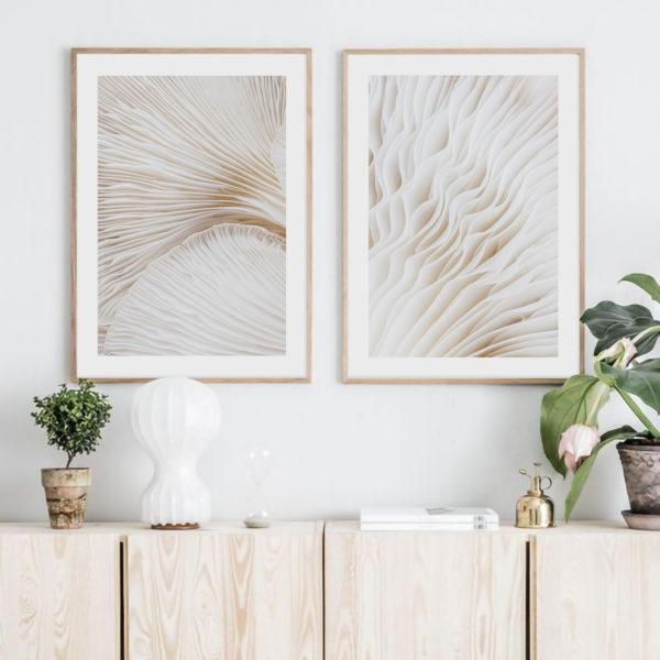 композиция два постера с грибами на стену