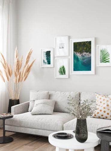 постеры бирюзовые волны пальмы море