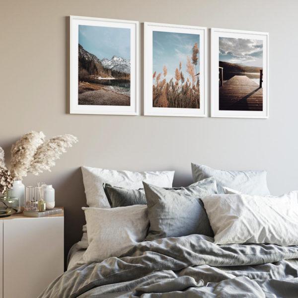 природные постеры в спальню три штуки