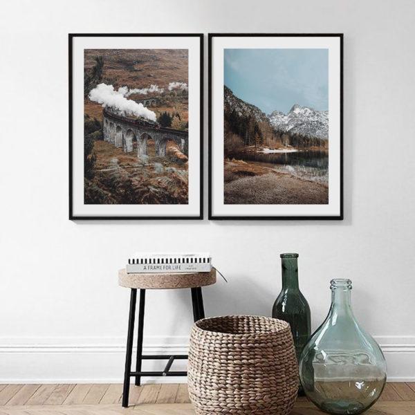 осенняя композиция из двух постеров озеро и поезд