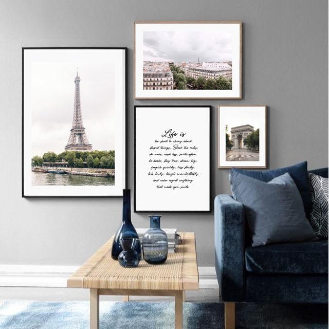 4 постера париж осень серые тона
