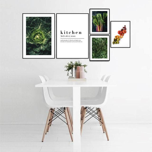 постеры в кухню зеленый и белый