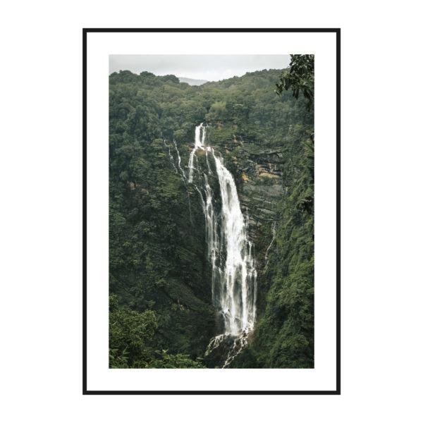 постер водопад чб
