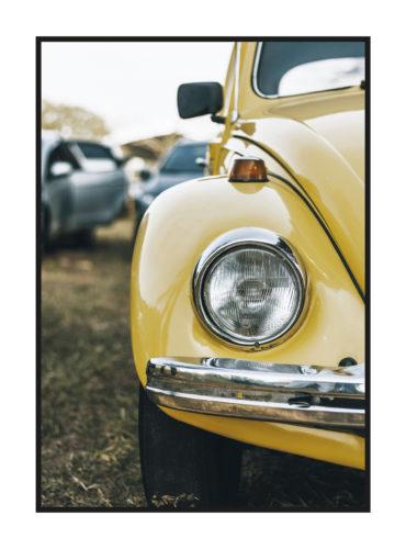 постер фольксваген жук желтый фара авто ретро