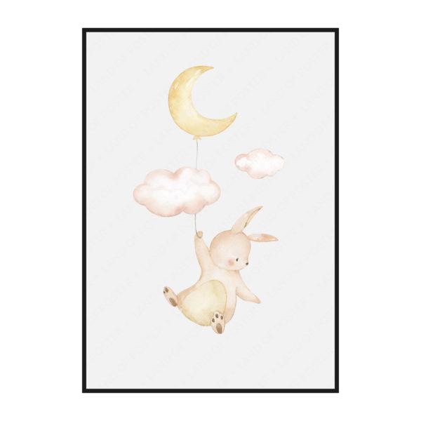 постер зайчик на воздушном шарике