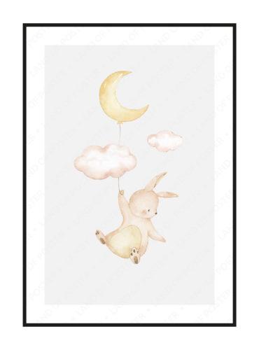 постер в детскую зайчик с луной