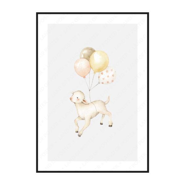 """Постер на стену в детскую """"Овечка с шариками"""""""