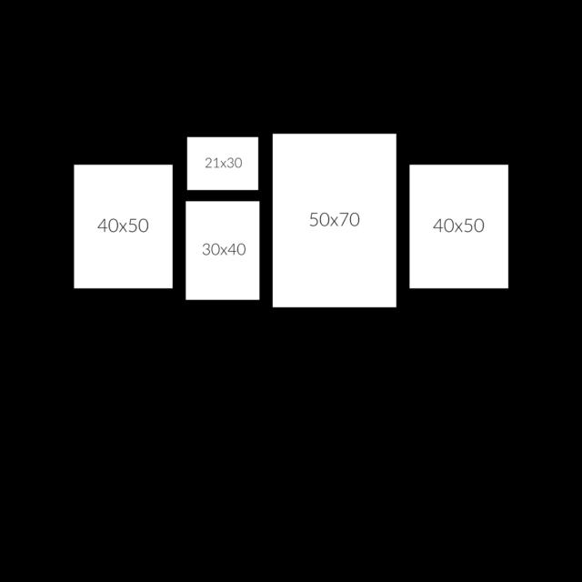 расположение 5 рамок на стене горизонтально схема