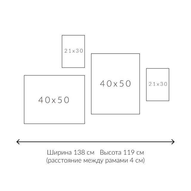 схема расположения 4х постеров разного размера