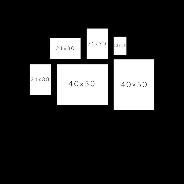 горизонтальная схема расположения 6 рамок постеров в 2 ряда на стене