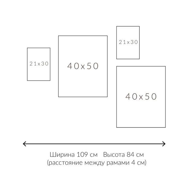 схема раскладки постеров четыре рамки на стене