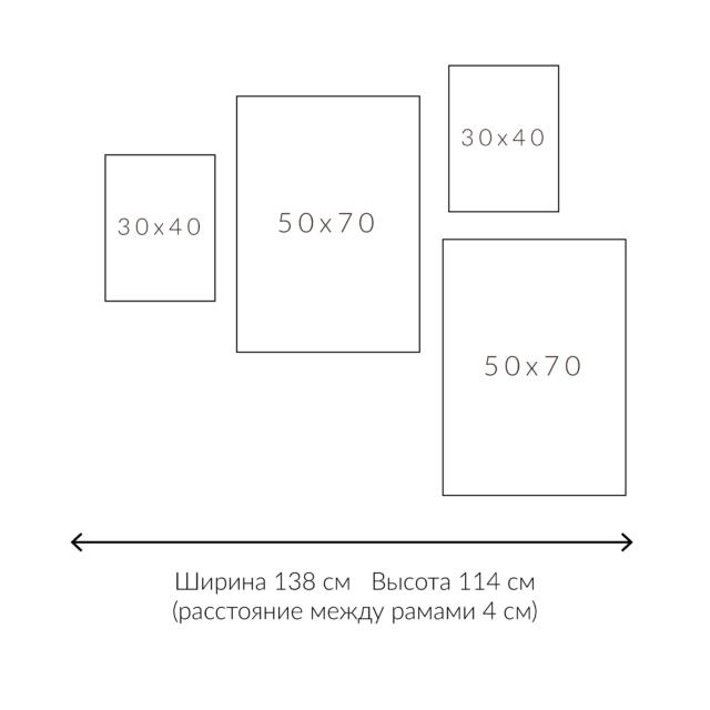схема расположения четырех рамок на стене