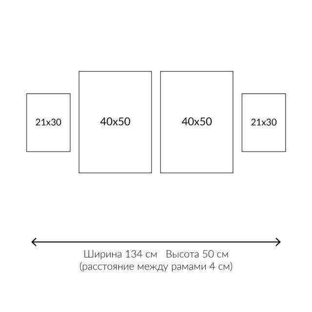 схема расположения 4 постеров в линию