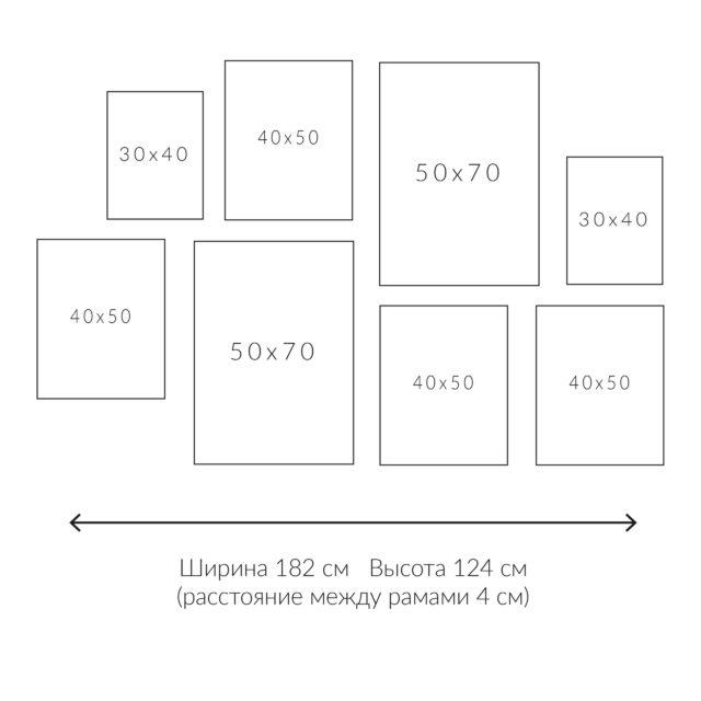 схема расположения 8 рамок с постерами