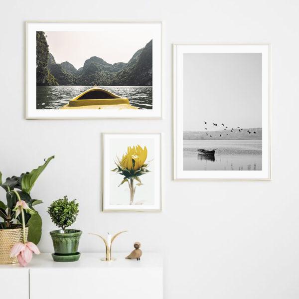 три постера на стену серый с желтым