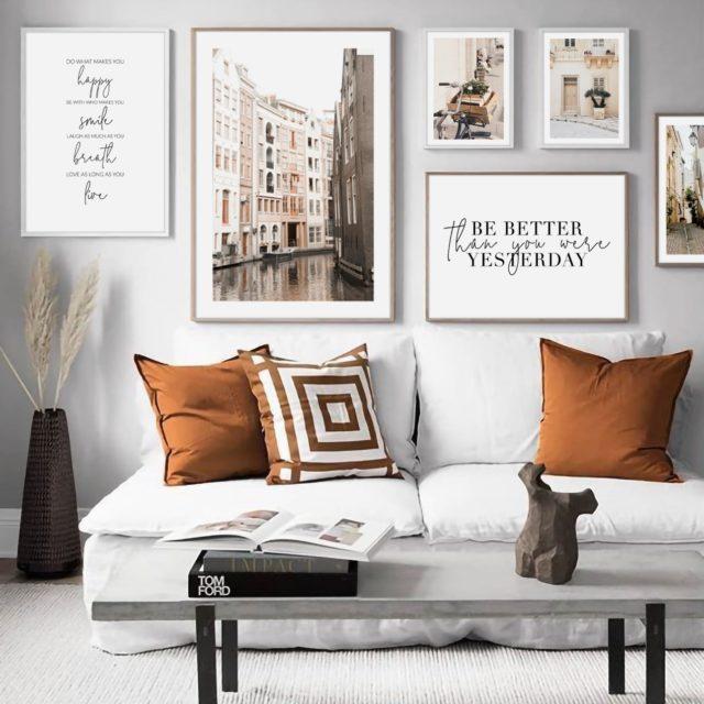 светло коричневые тона город постеры набор текст