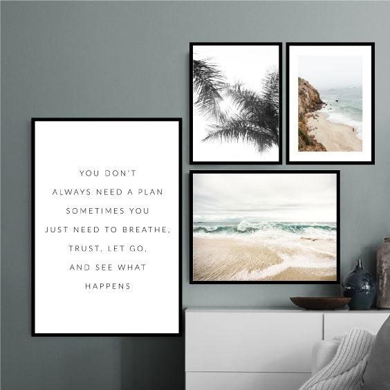 группа из 4 постеров пастельные море