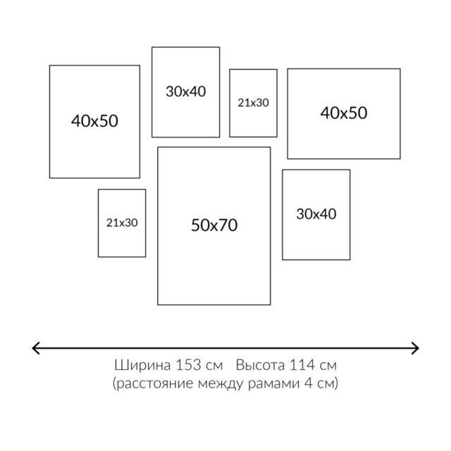 схема расположения 7 рамок на стене