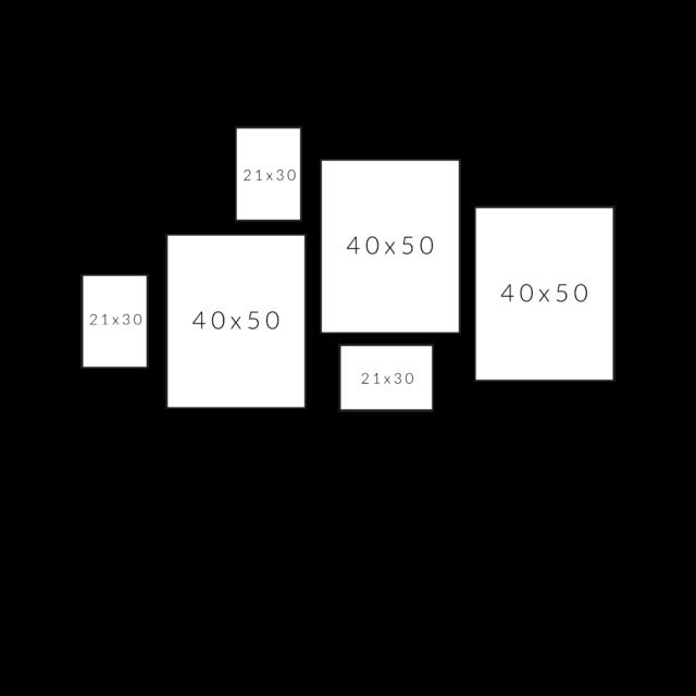 как разместить 6 рамок разного размера по горизонтали