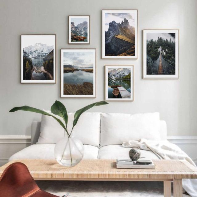 6 осенних постеров в рамках в интерьер