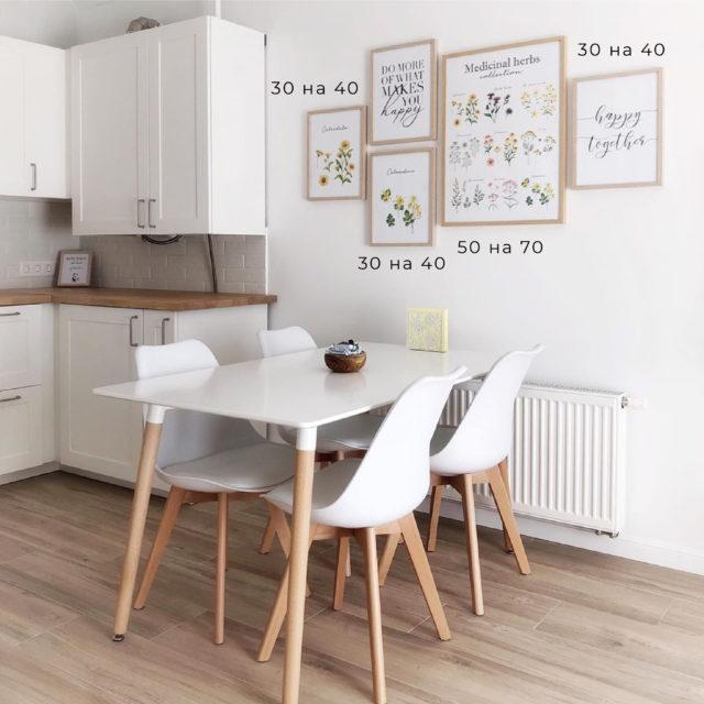 постеры в кухне 5 разный размер с полями