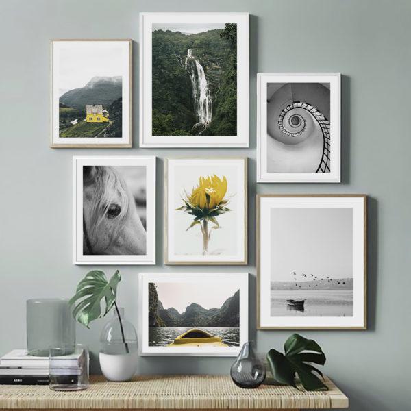 7 постеров природа серый желтый