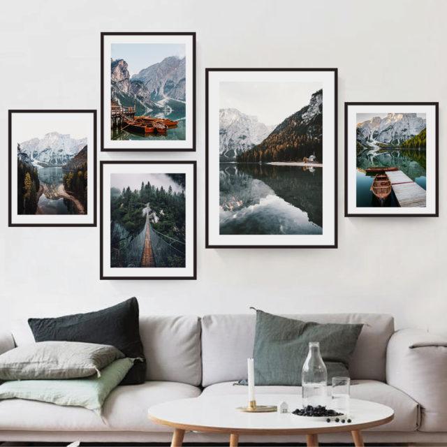 набор постеров виды озера в горах