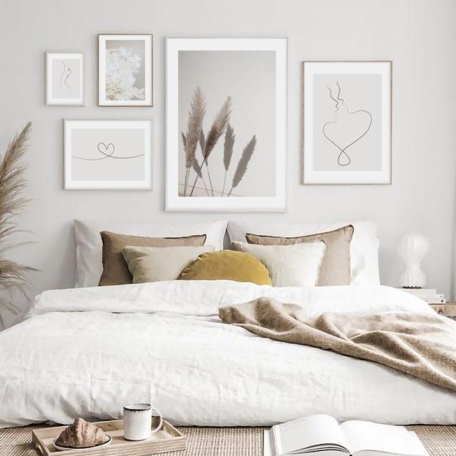 пять постеров в спальне пастельные нежные тона надписи