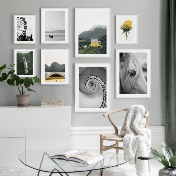 8 постеров природа серый желтый