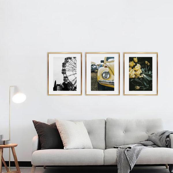 три постера серо-желтые на стену