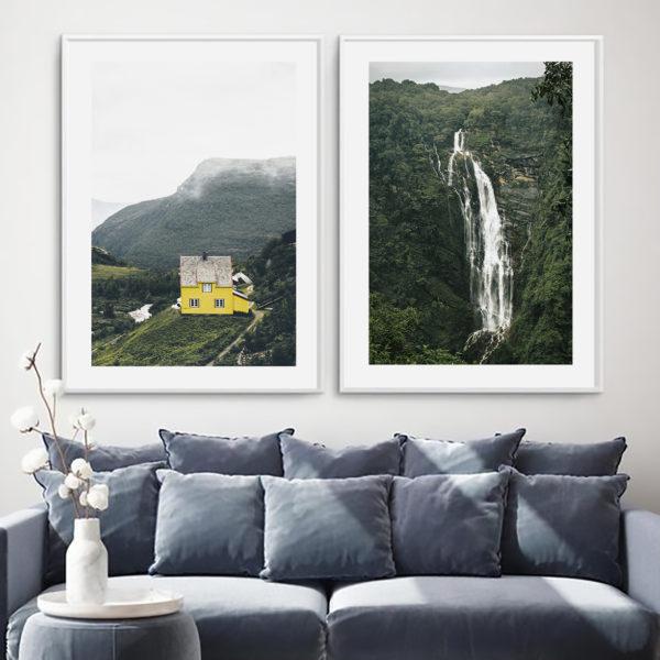 пара постеров природа горы водопад