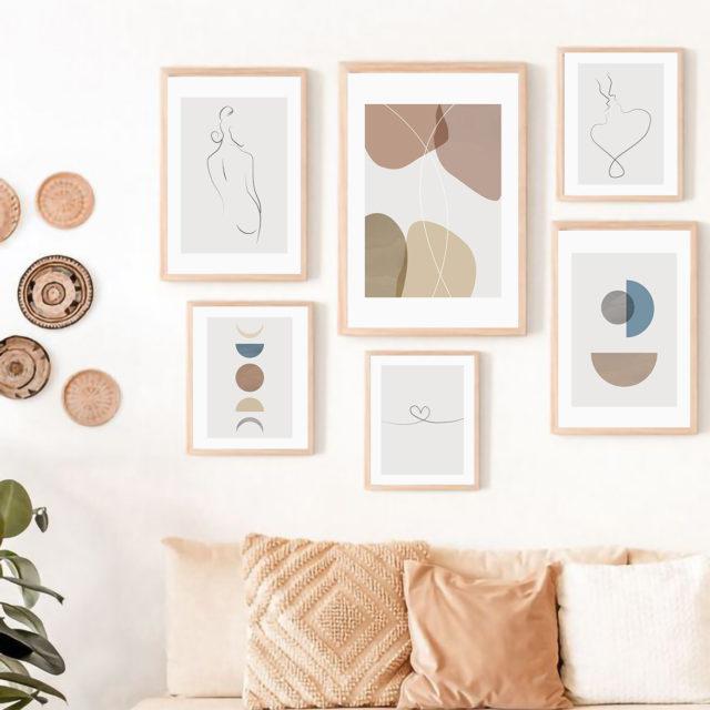 расположение 6 рамок постеров на стене