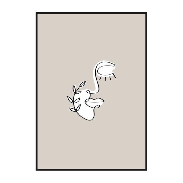 постер абстракция лицо с веточкой бежевый белый