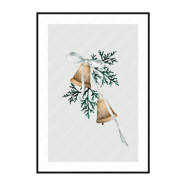 постер колокольчики серый с полями
