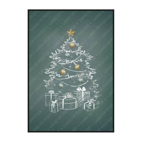 новогодний постер белая елка на зеленом фоне