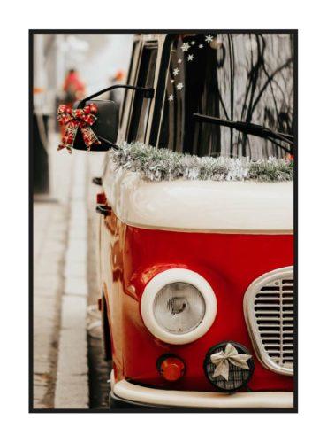 постер с красной новогодней машиной