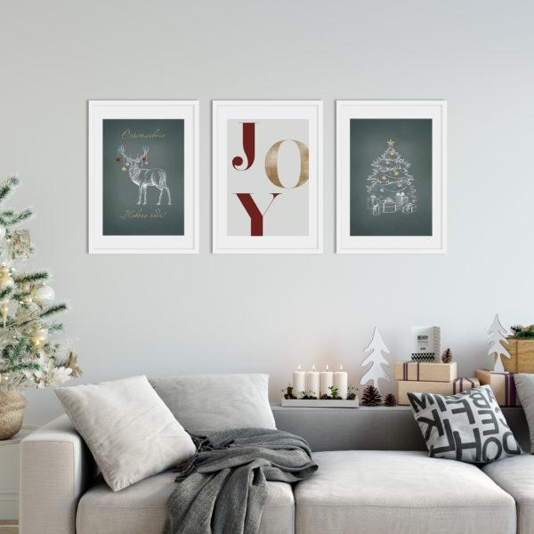 три постера новый год рождество