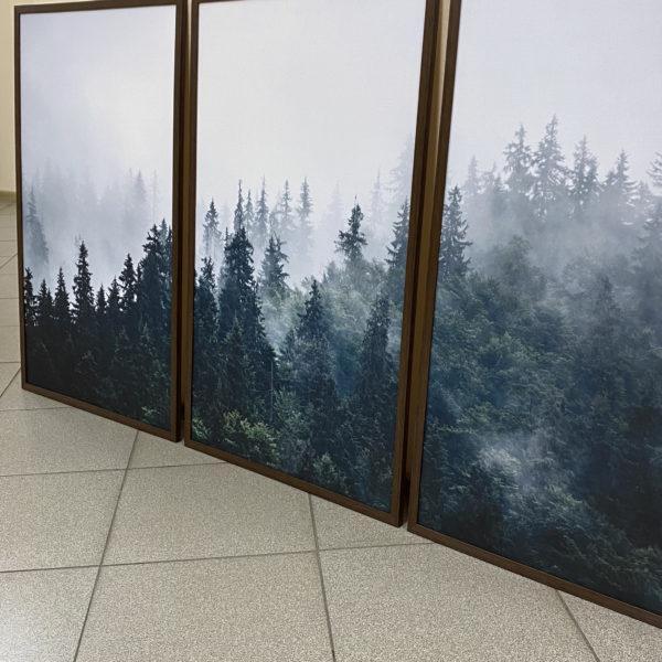 три интерьерных постера лес природа горы туман