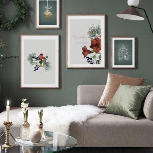 4 постера в бело-зеленых тонах на стену