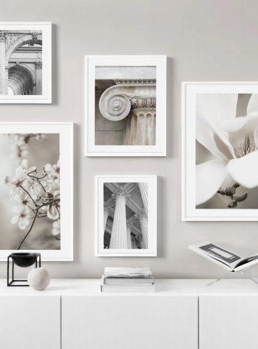 5 постеров с белыми рамками разный размер