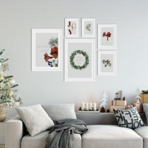 Новогодний набор из 6 постеров