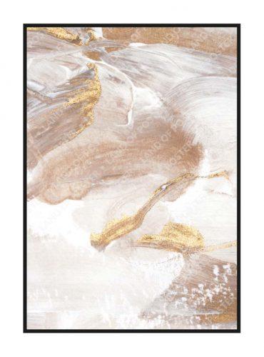 Постер на стену мазки кистью нейтральные с золотом