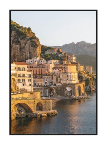 Постер на стену с закатом на побережье Италии