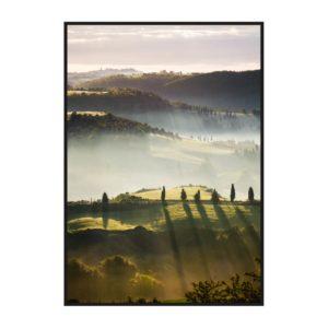 Постер на стену с туманными полями Тосканы